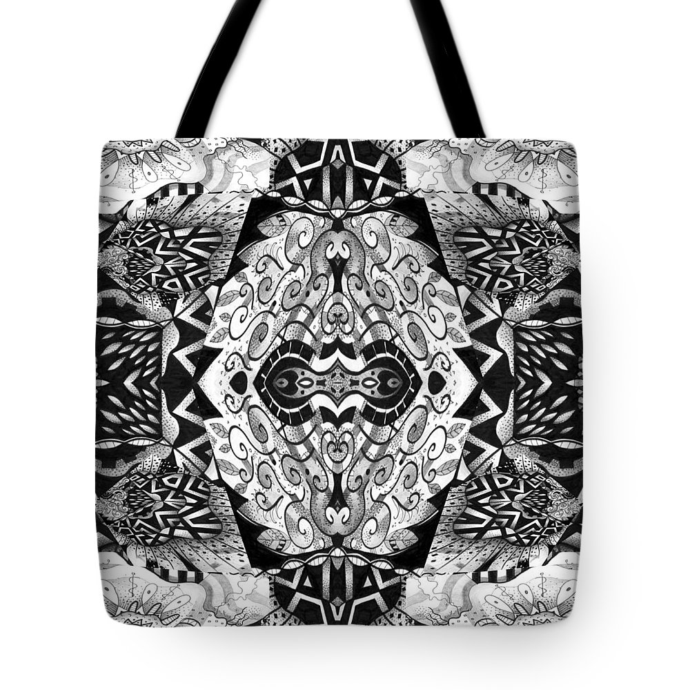 Abstract Tote Bag featuring the digital art Stepping Into The Unknown - A Sometimes A Mystery Compilation by Helena Tiainen