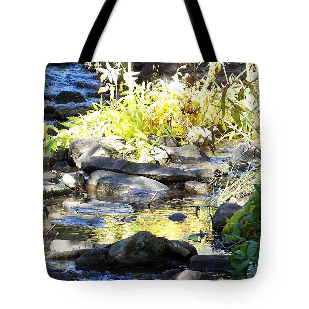 Stream Tote Bag featuring the photograph Stepping Stones by Sheri Keith
