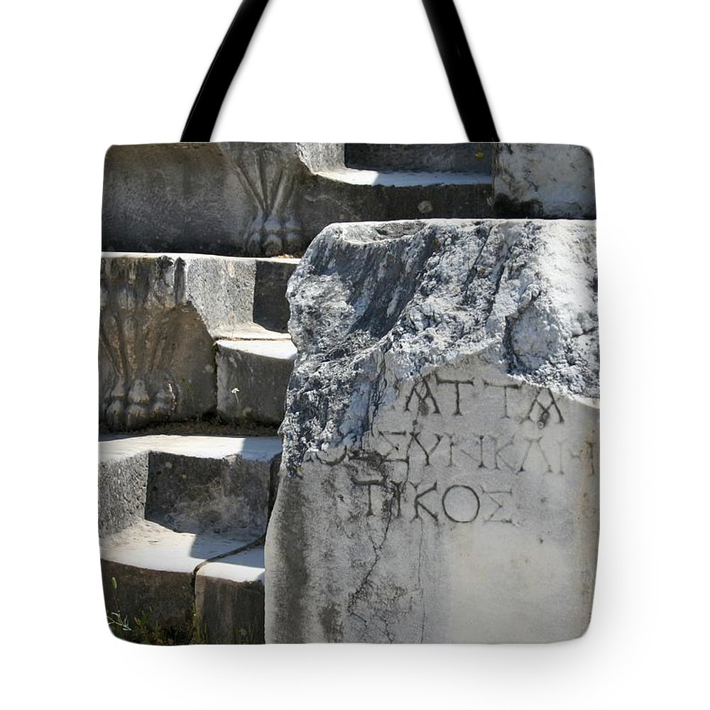 Aphrodisias Tote Bag featuring the photograph Steps Of The Council House Aphrodisias by Taiche Acrylic Art