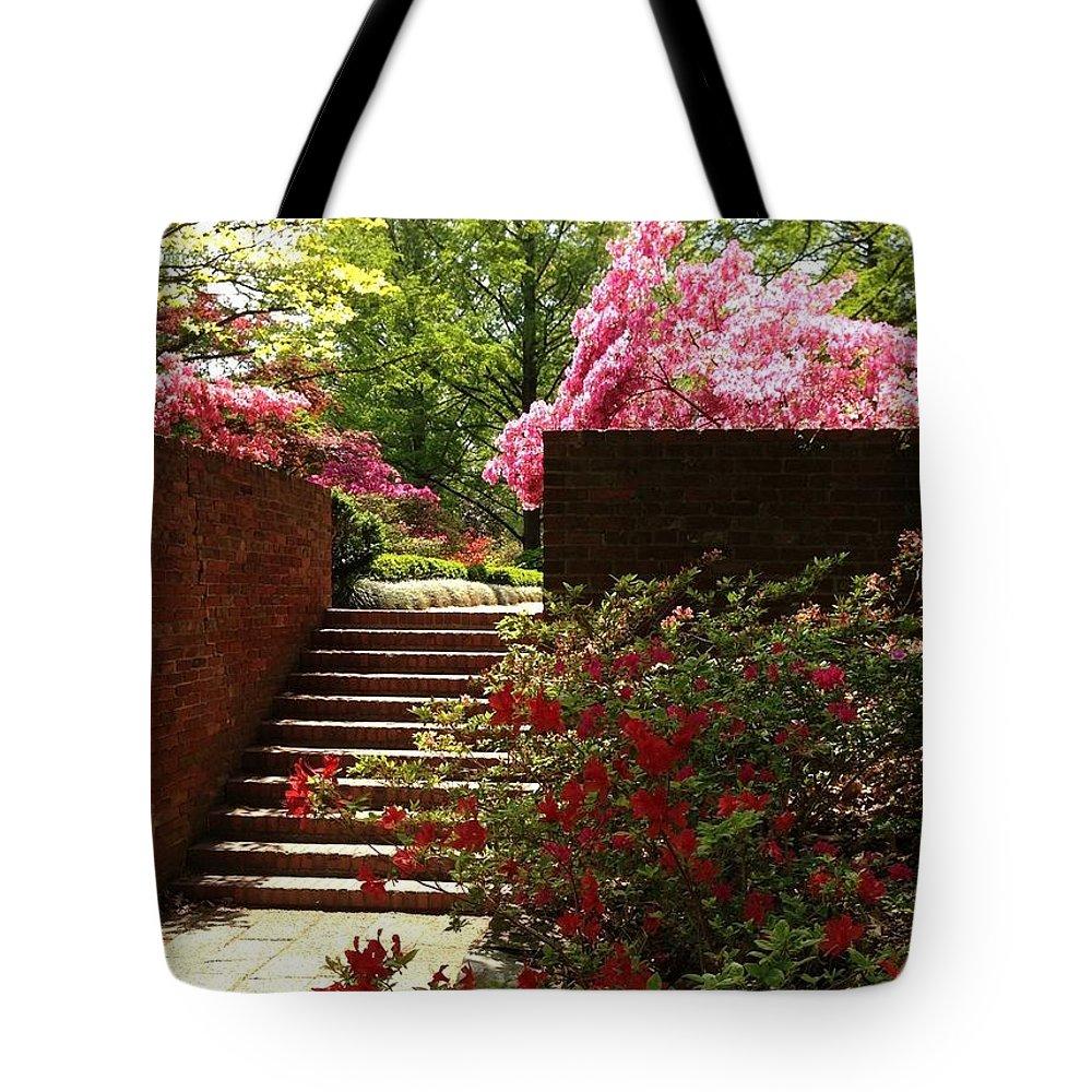 Azaleas Tote Bag featuring the photograph Steps To Azalea Fairyland by Lois Ivancin Tavaf