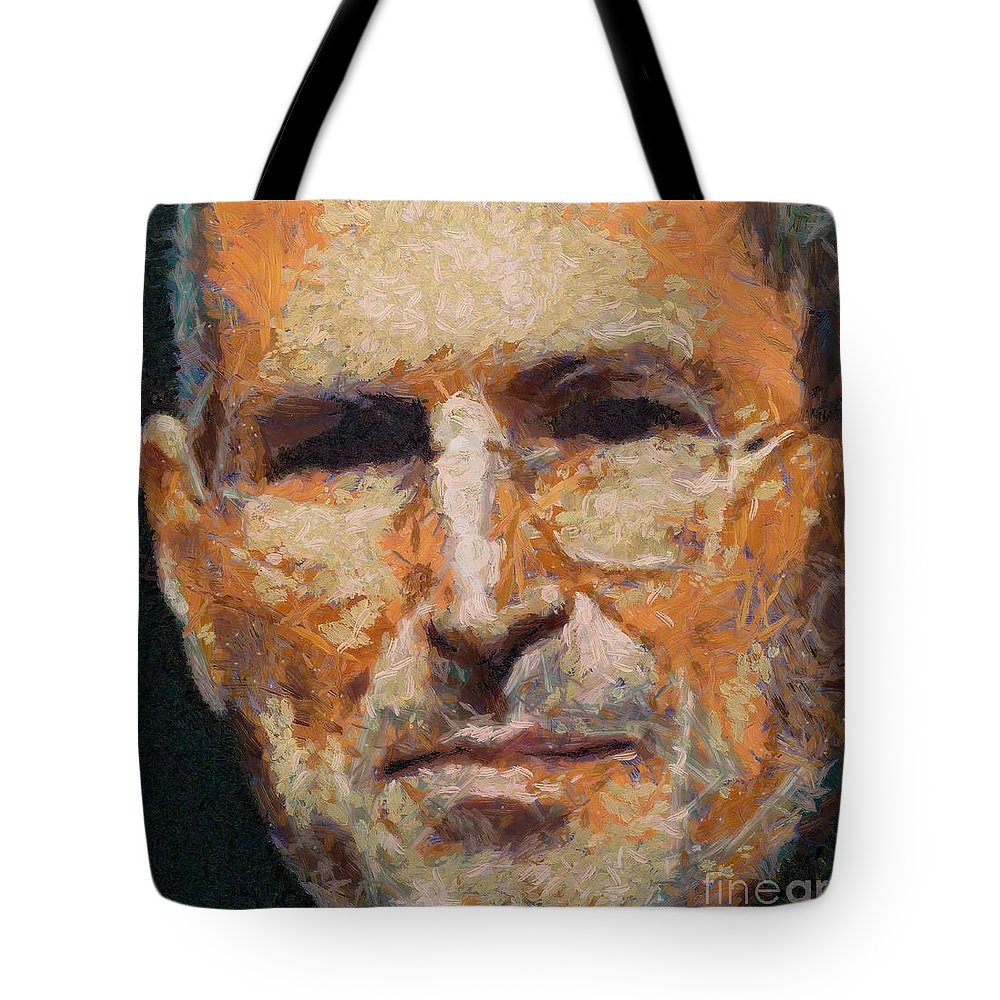 Celebrities Tote Bag featuring the painting Steve Jobs by Dragica Micki Fortuna