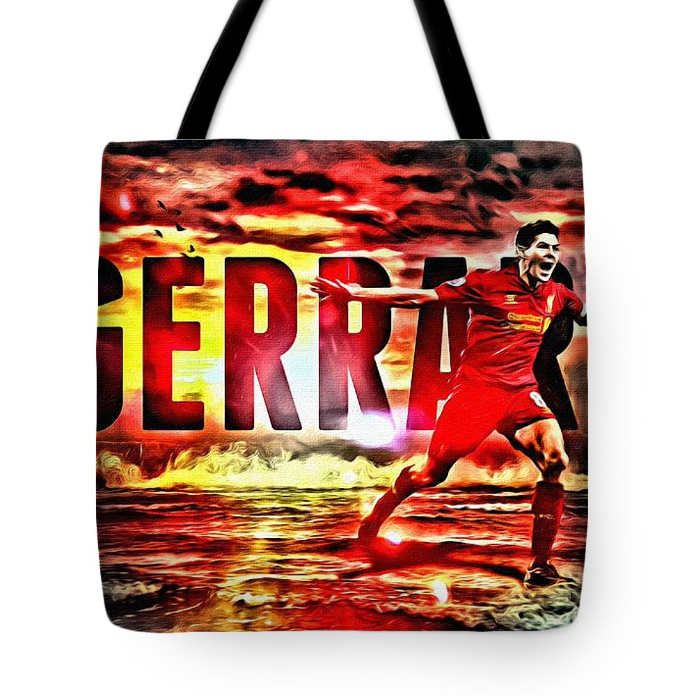 Steven Gerrard Tote Bag featuring the painting Steven Gerrard Liverpool Symbol by Florian Rodarte