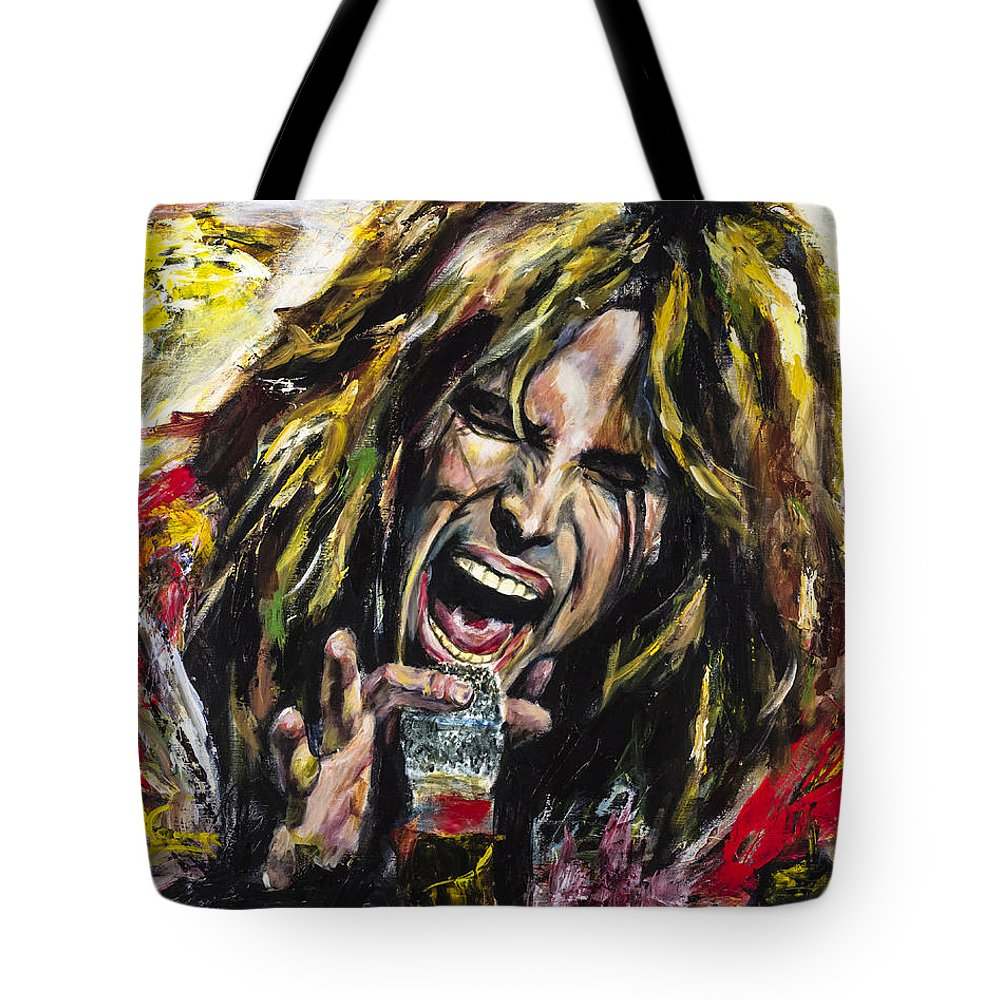 Steven Tyler Tote Bag featuring the painting Steven Tyler by Mark Courage