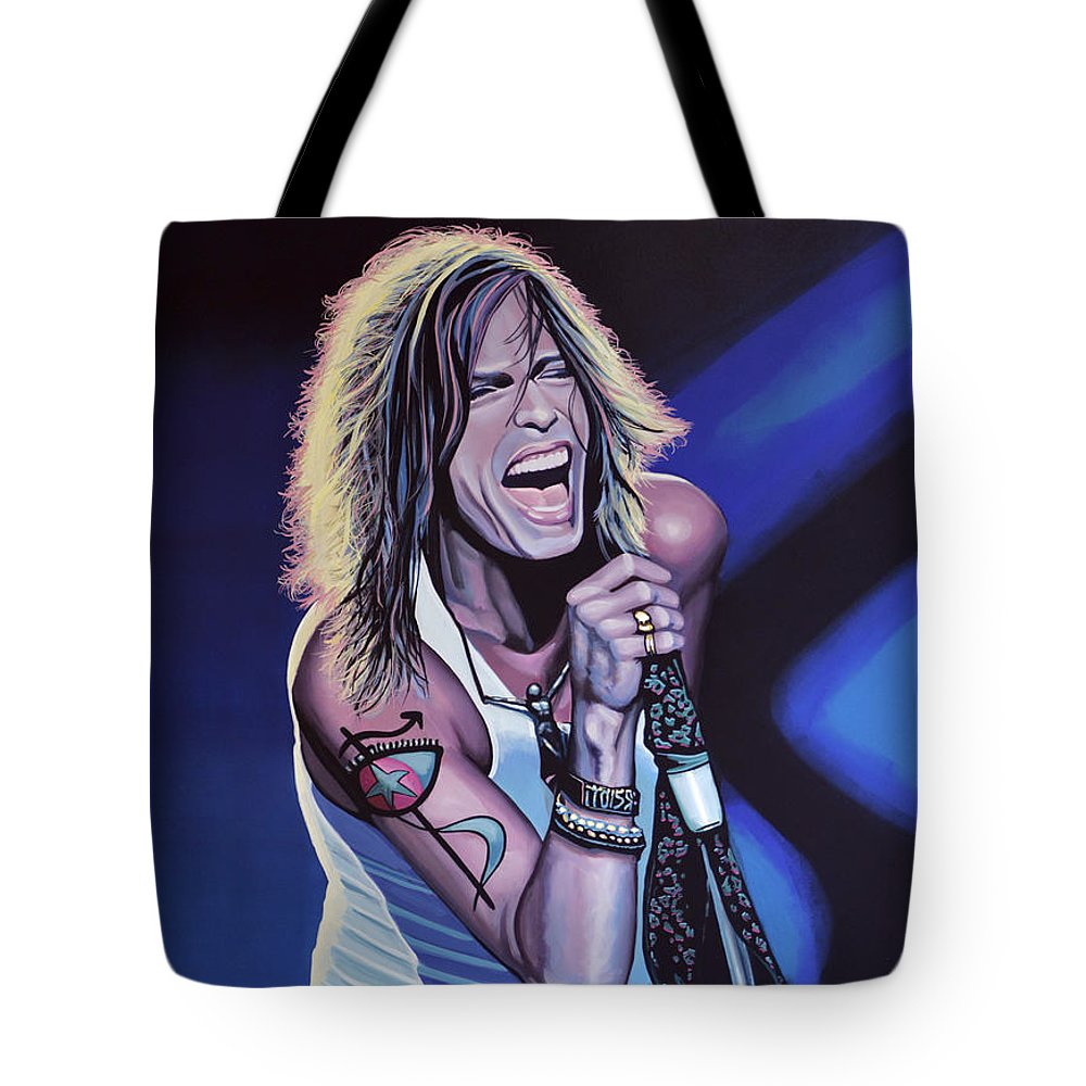 Steven Tyler Tote Bag featuring the painting Steven Tyler 3 by Paul Meijering