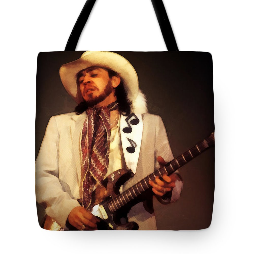 Stevie Ray Vaughan Tote Bag featuring the digital art Stevie Ray Vaughan by Martin Deane