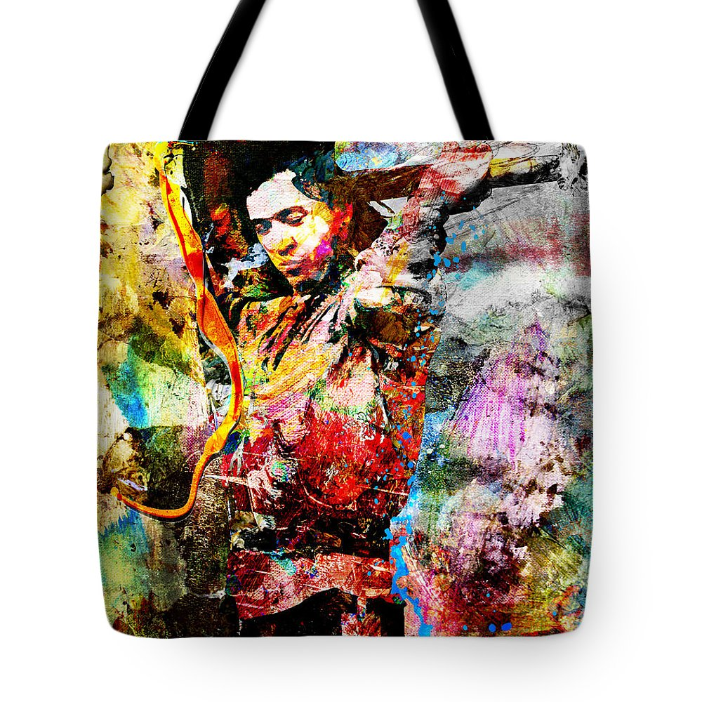 Art Tote Bag featuring the painting Stevie Ray Vaughan Original by Ryan Rock Artist