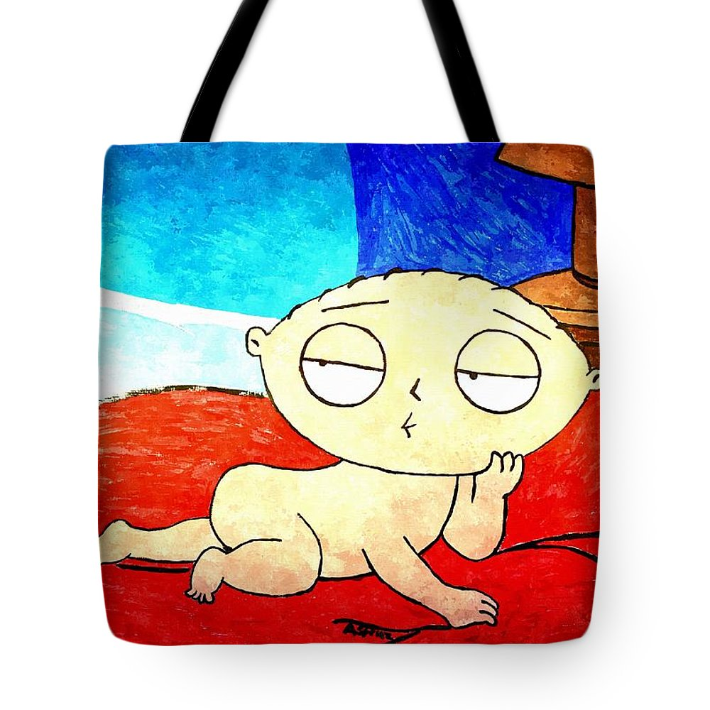 Acrylic Tote Bag featuring the painting Stewie On Bed by Amanda Struz