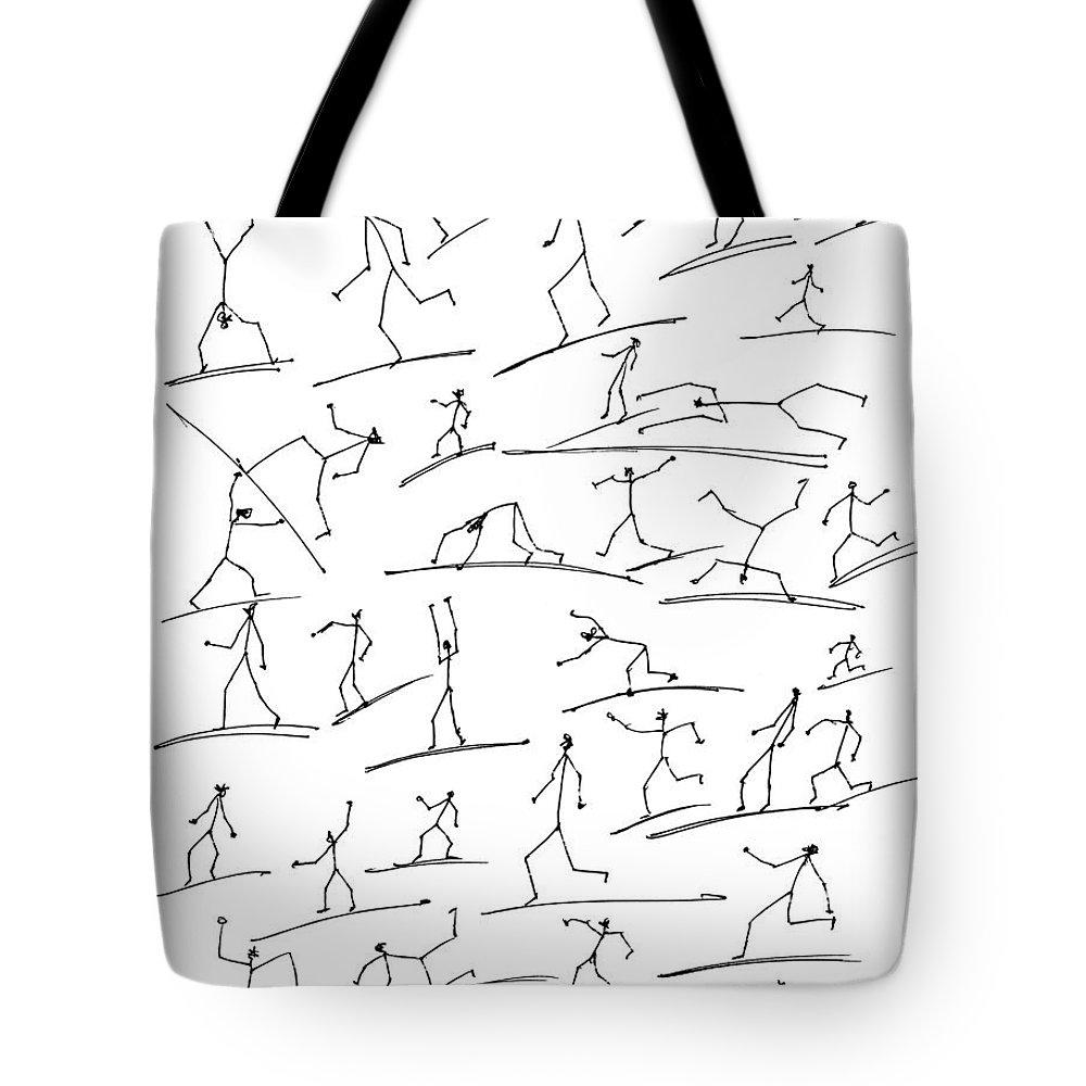 Stickmen Tote Bag featuring the digital art Stickmen Surfing by Carl Deaville