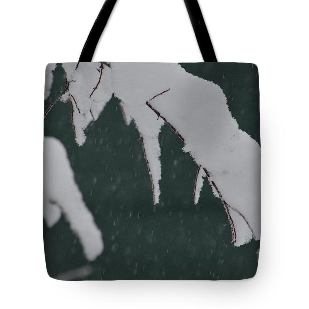 Snow Tote Bag featuring the photograph Still Coming Down by Brian Boyle