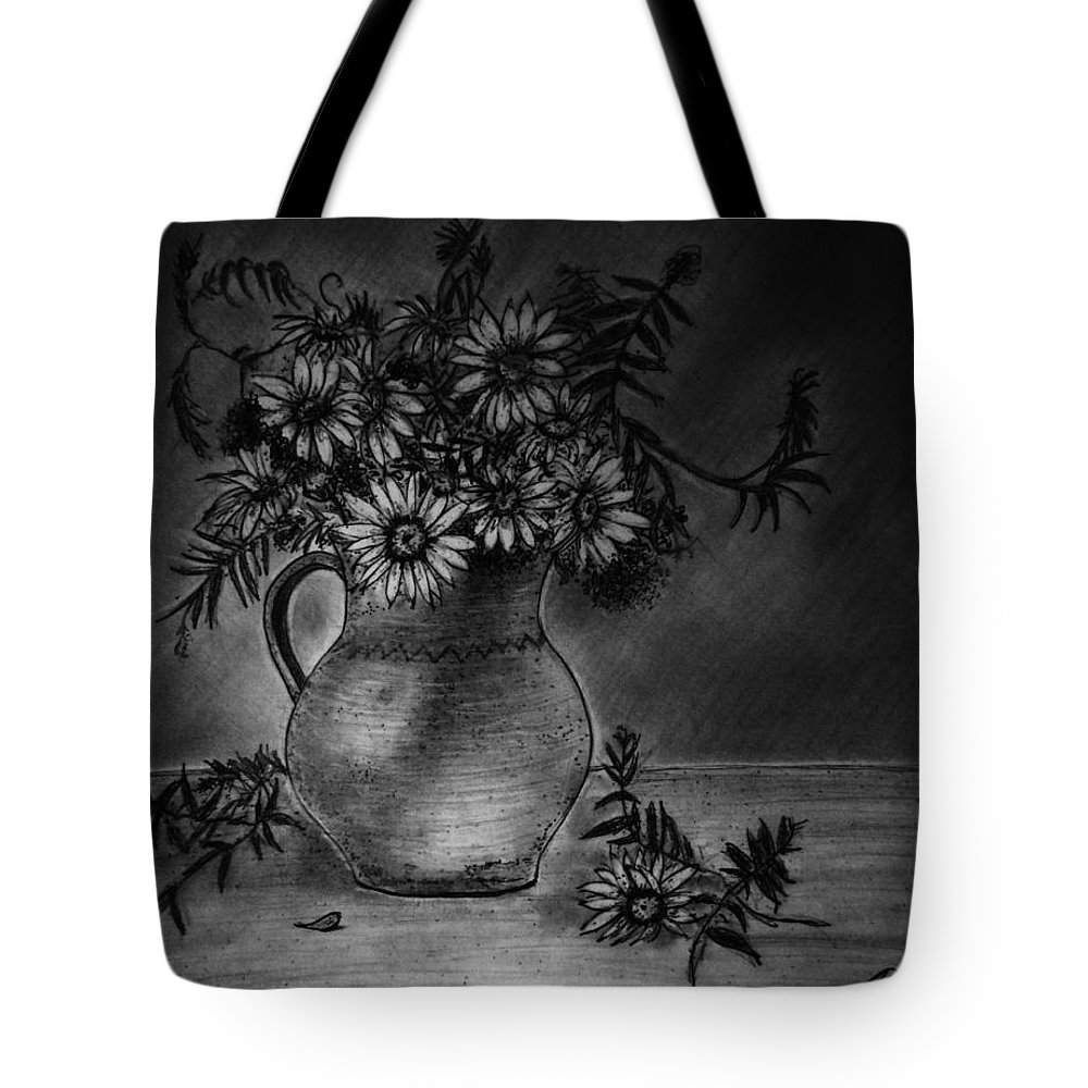 Still Life Tote Bag featuring the drawing Still Life Clay Pitcher With 13 Daisies by Jose A Gonzalez Jr