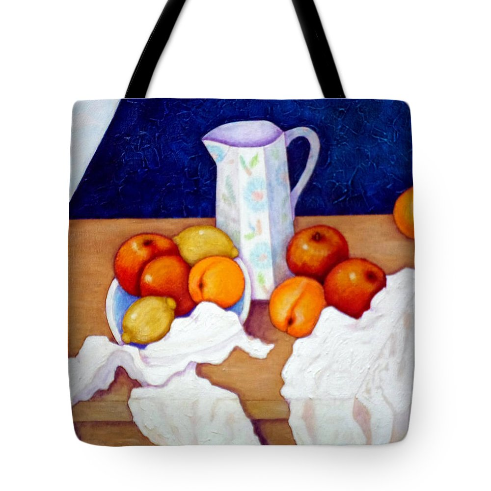 Cezanne Tote Bag featuring the painting Still Life In Honor Of Cezanne  by Madalena Lobao-Tello
