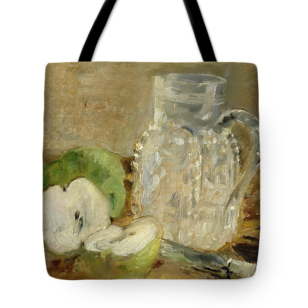 Pomme Coupee Et Pichet; Sliced; Knife; Impressionist; Jug; Table; Nature Morte Tote Bag featuring the painting Still Life With A Cut Apple And A Pitcher by Berthe Morisot