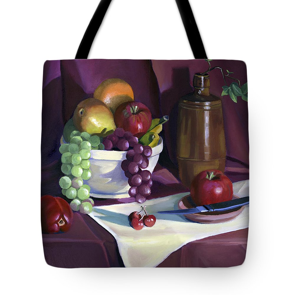 Fine Art Tote Bag featuring the painting Still Life With Apples by Nancy Griswold