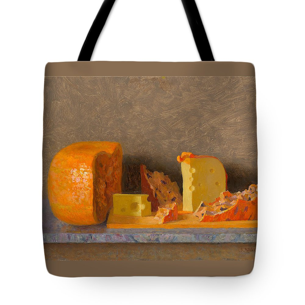 Cheese Tote Bag featuring the painting Still Life With Cheese by Ben Rikken