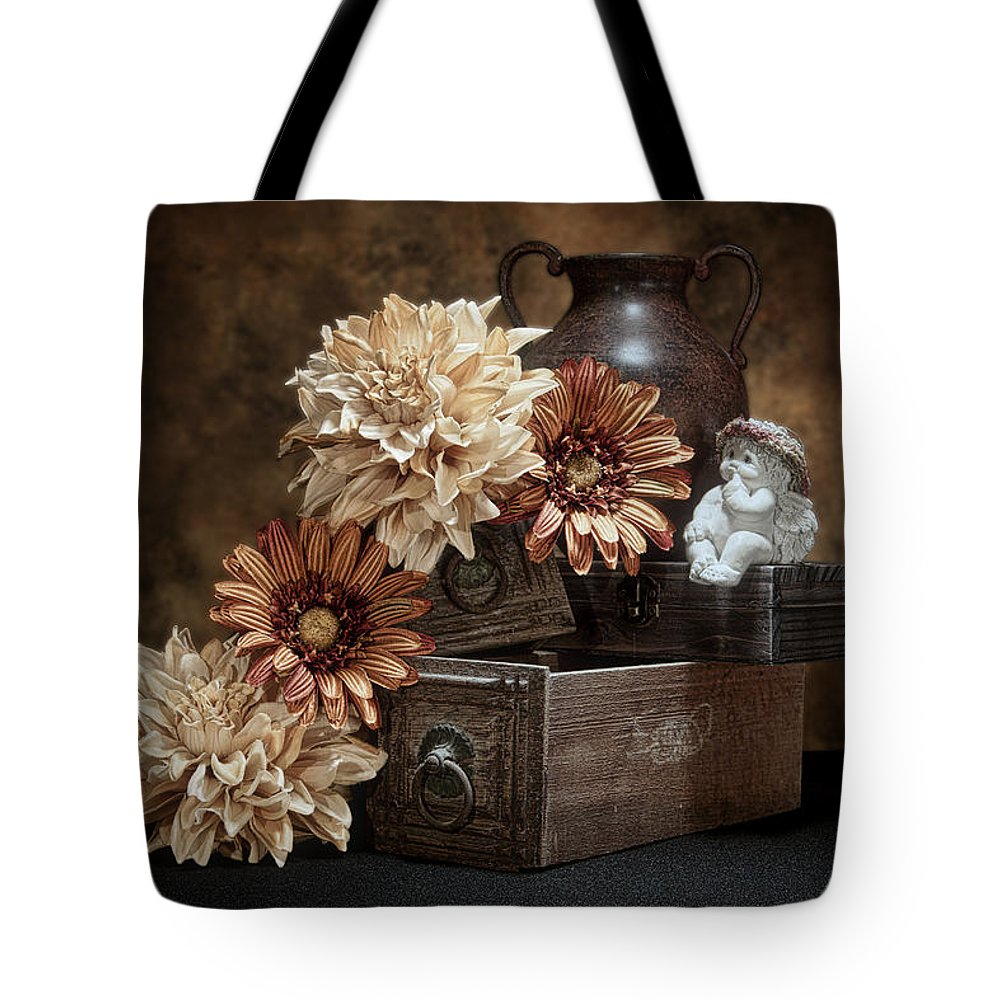 Angel Tote Bag featuring the photograph Still Life With Cherub by Tom Mc Nemar