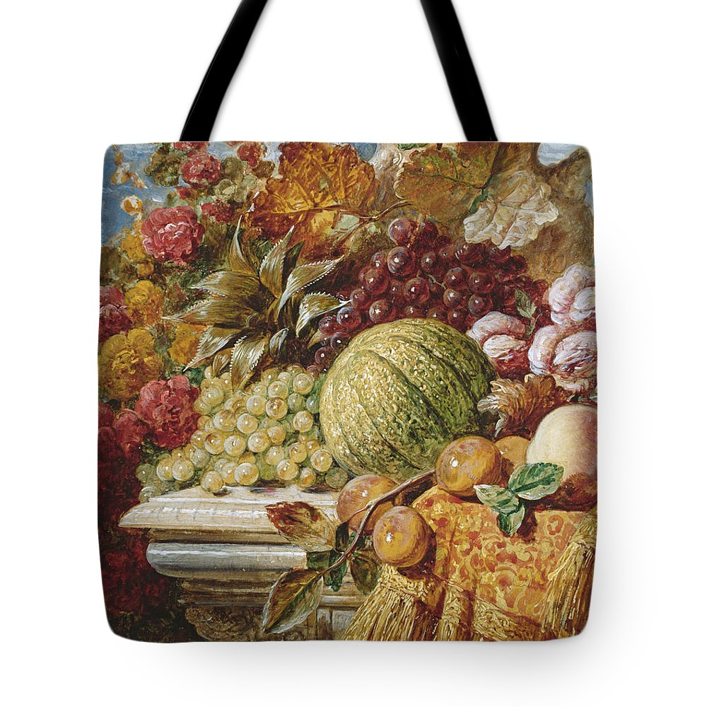 George Lance Tote Bag featuring the painting Still Life With Fruit by George Lance