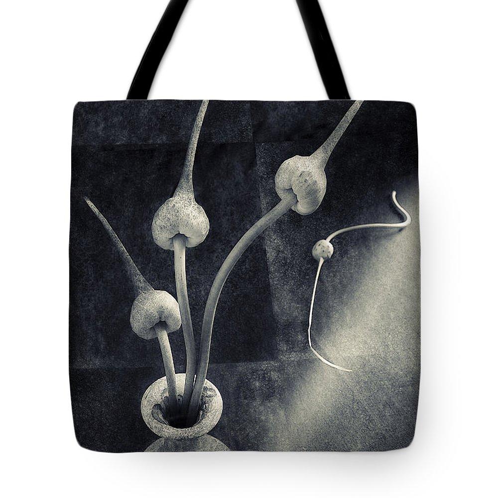 Still Life Tote Bag featuring the digital art Still Life With Garlic by Sviatlana Kandybovich