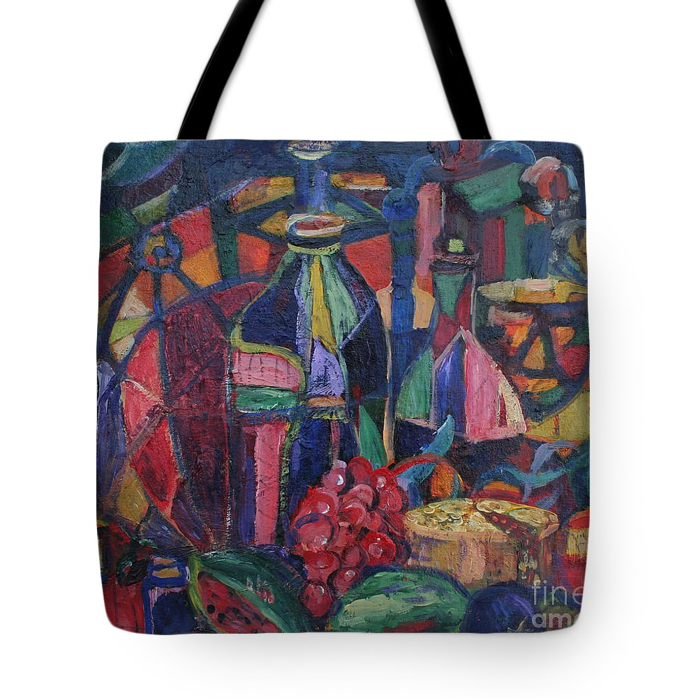 Still Life Paintings Tote Bag featuring the painting Still Life With Grapes by Avonelle Kelsey