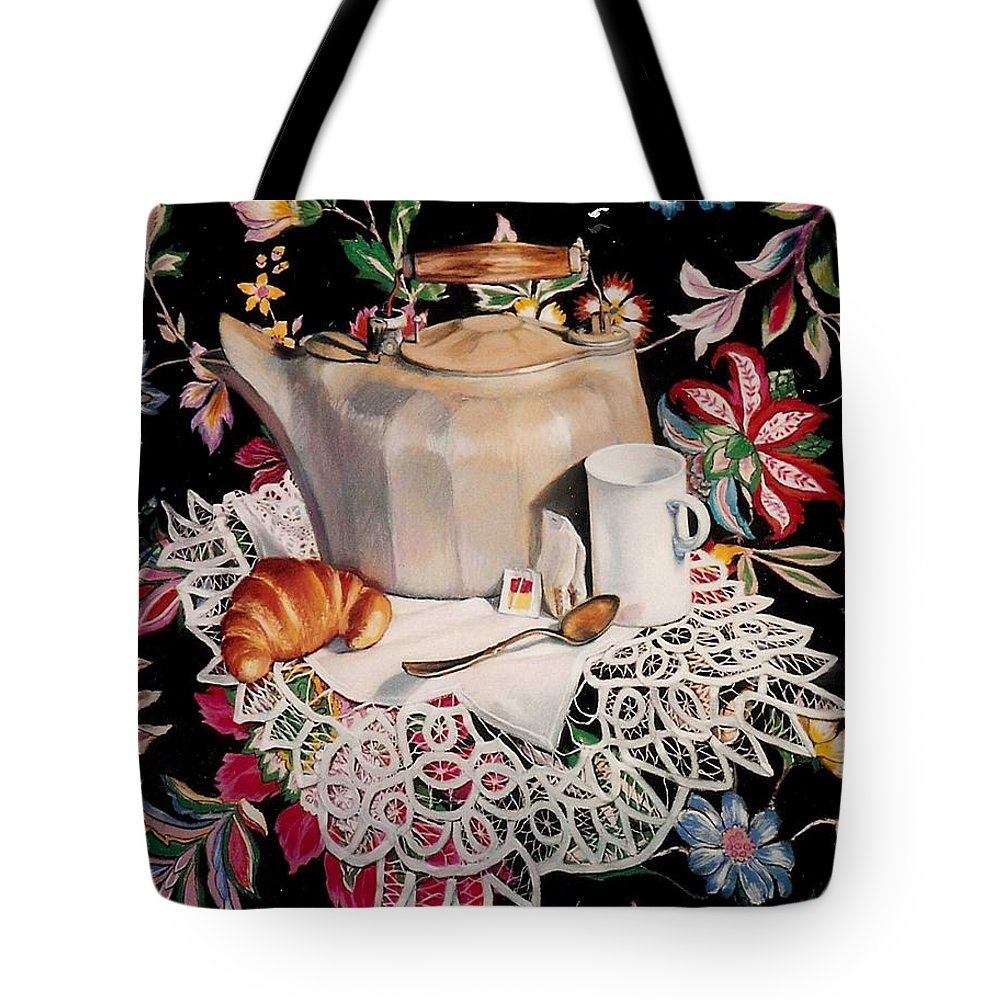 Stillife Tote Bag featuring the pastel Still Life With Lace by Constance Drescher