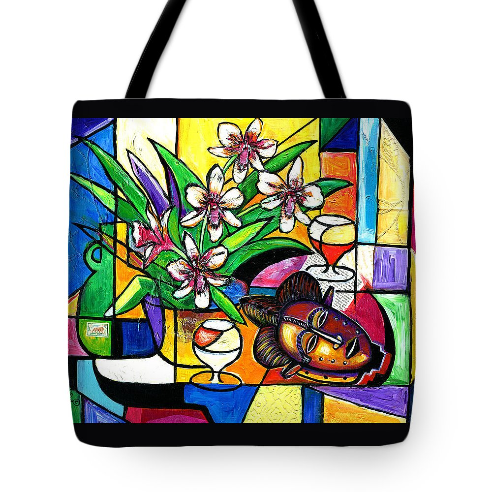 Everett Spruill Tote Bag featuring the painting Still LIfe with Orchids and African Mask by Everett Spruill