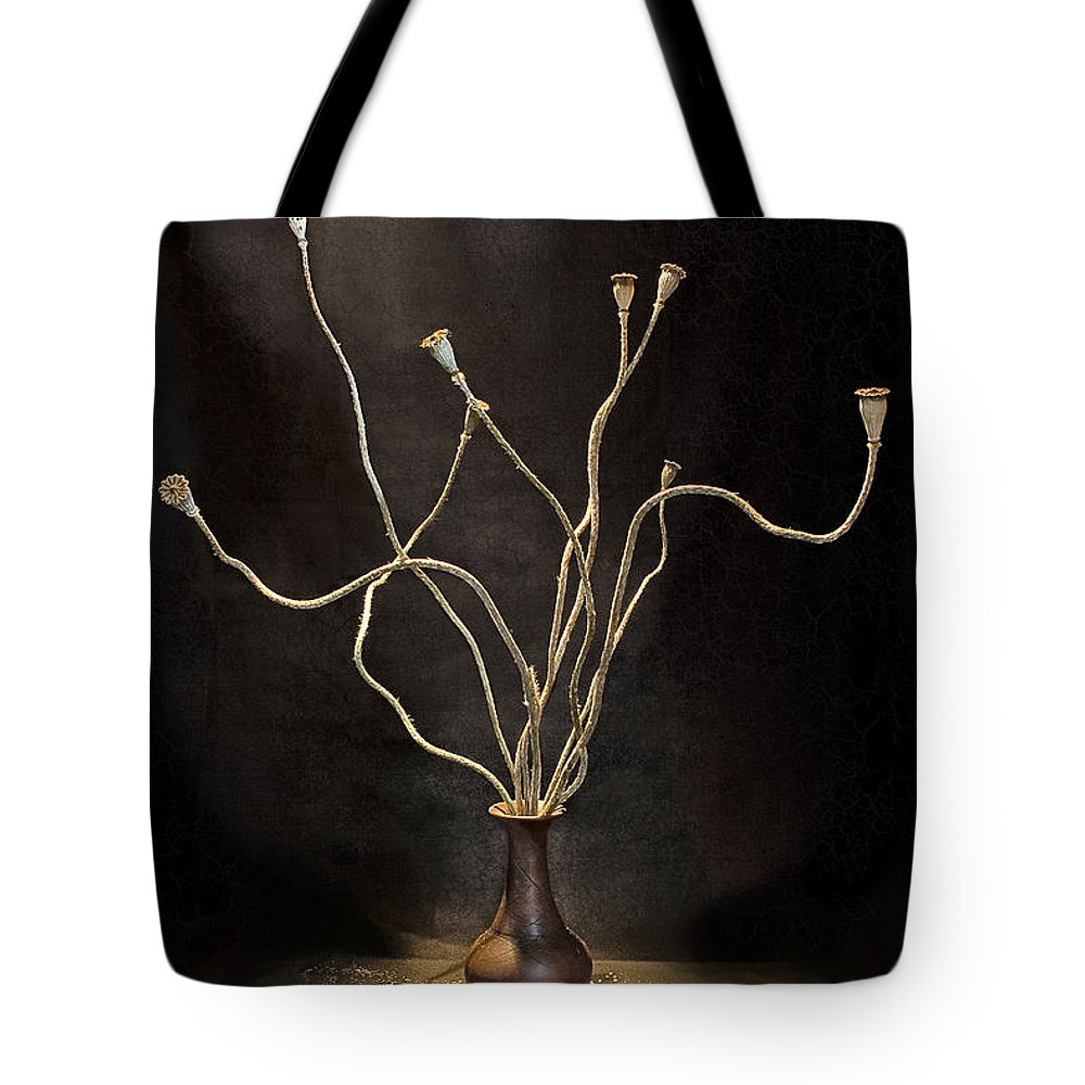 Still Life Tote Bag featuring the digital art Still Life With Poppy by Sviatlana Kandybovich