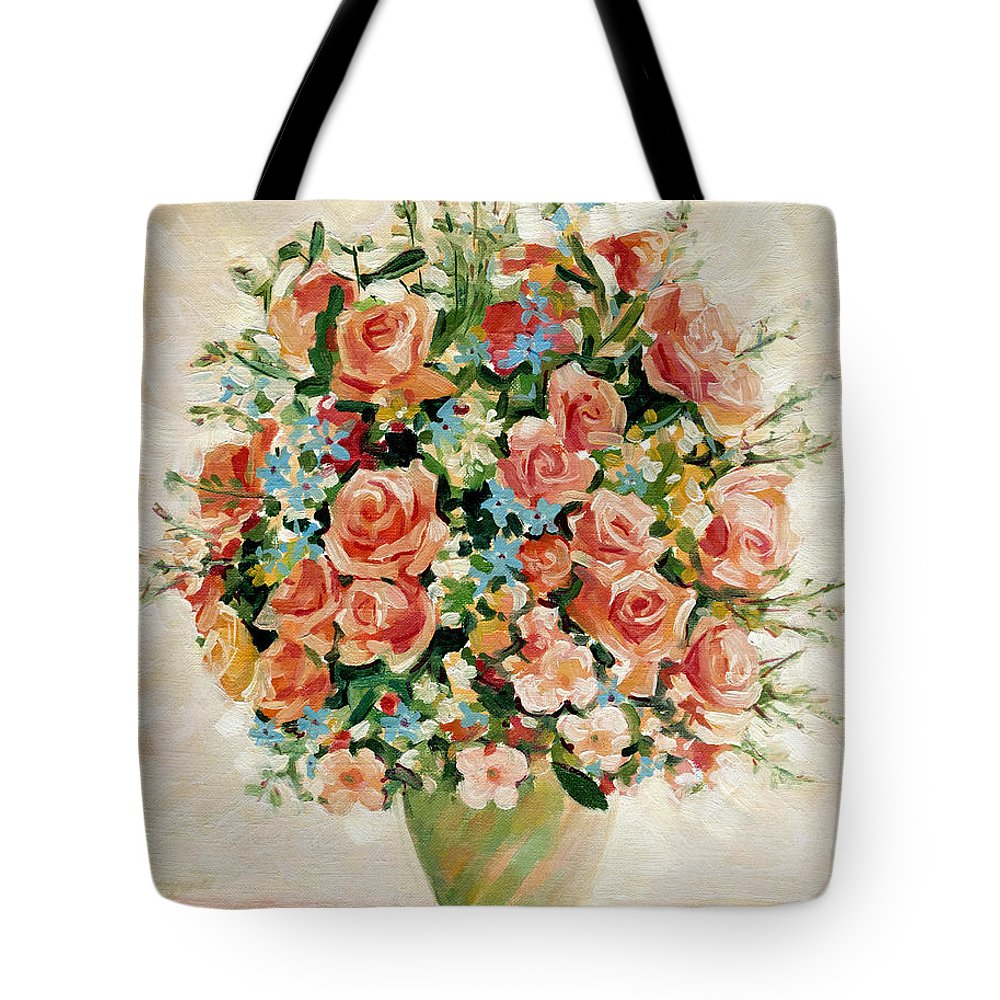 Flowers Tote Bag featuring the painting Still Life With Roses by Iliyan Bozhanov