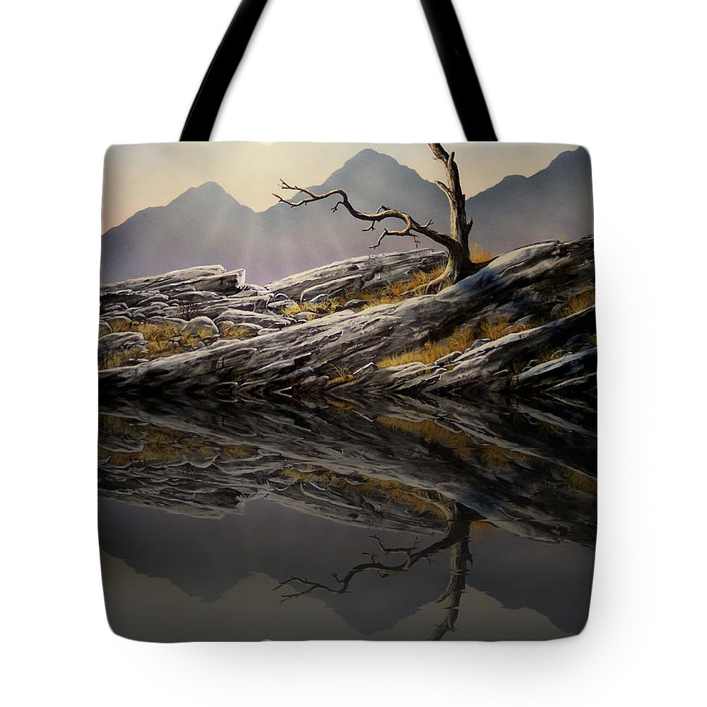 Experimental Art Tote Bag featuring the painting Still Standing Reflections by Frank Wilson