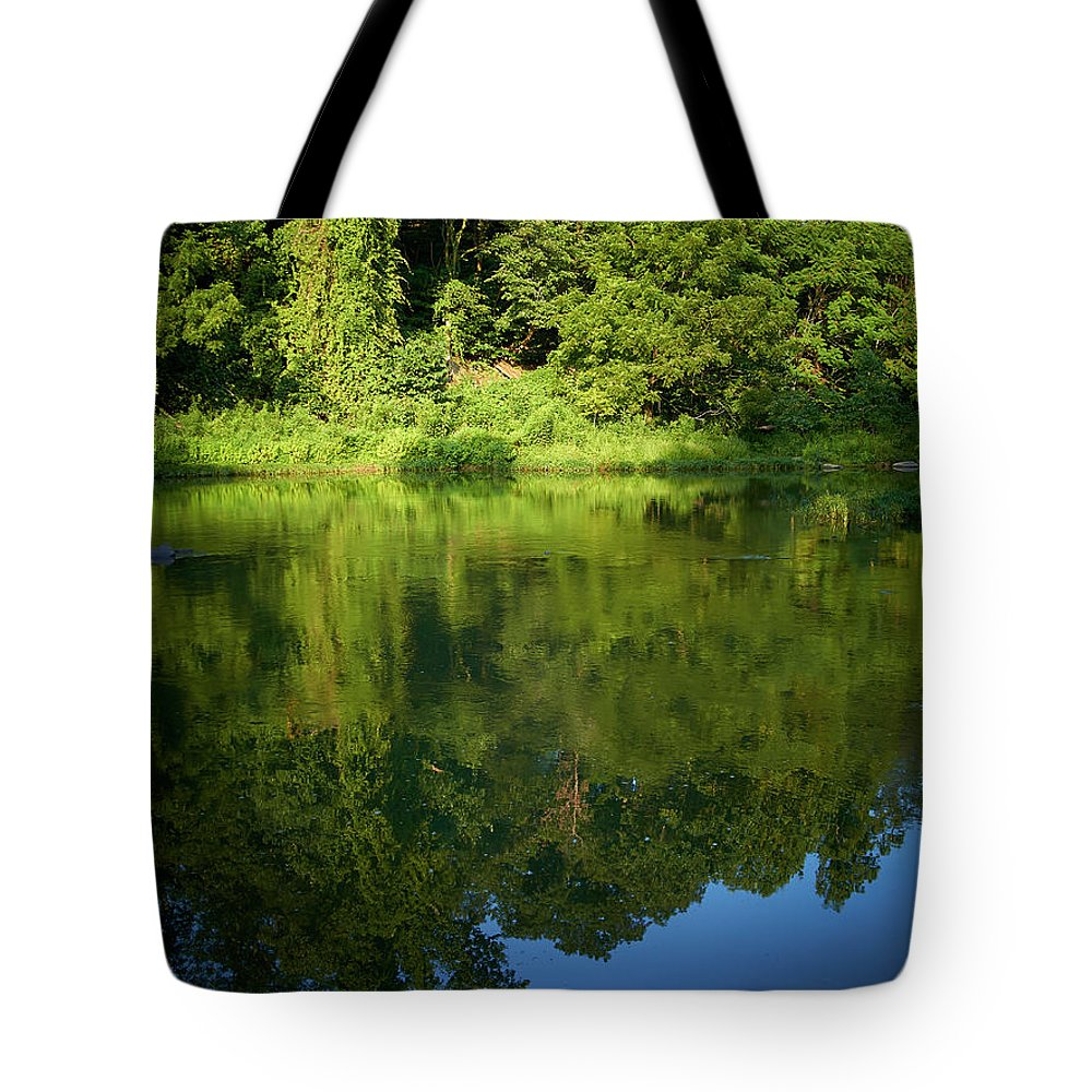 Tranquility Tote Bag featuring the photograph Still Water On The Potomac River by Cameron Davidson