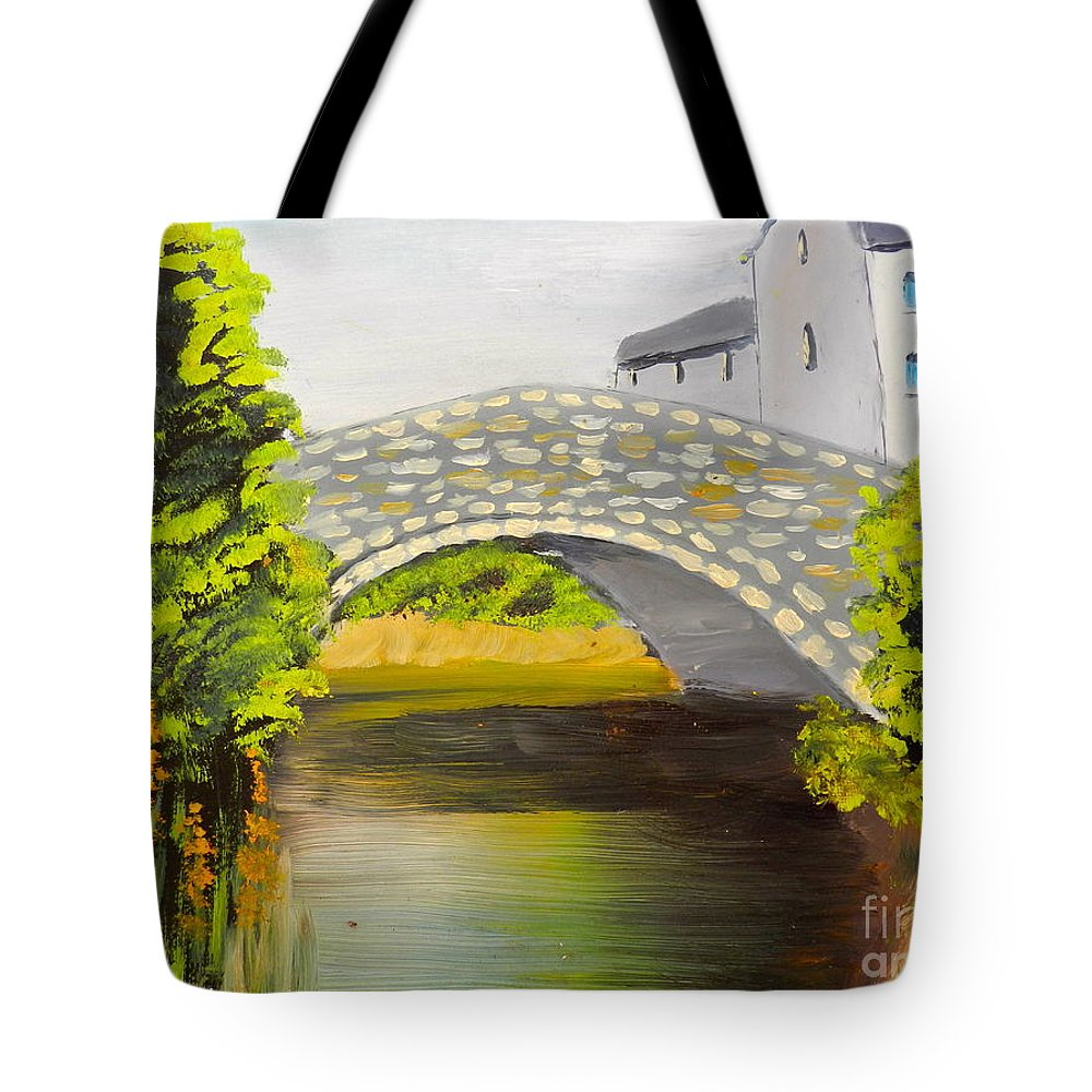 Impressionism Tote Bag featuring the painting Stone Bridge At Burrowford Uk by Pamela Meredith