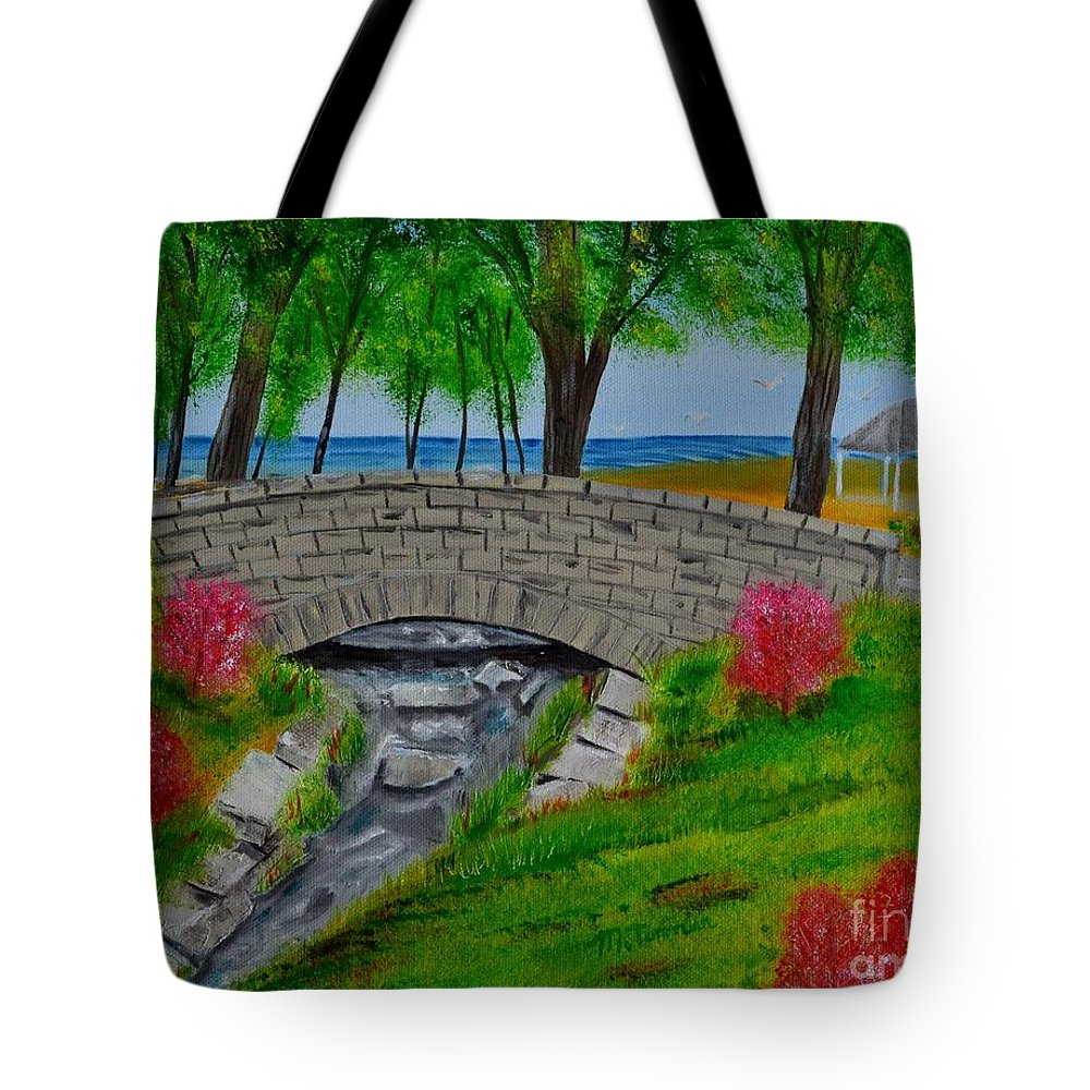 Melvin Tote Bag featuring the painting Stone Bridge by Melvin Turner