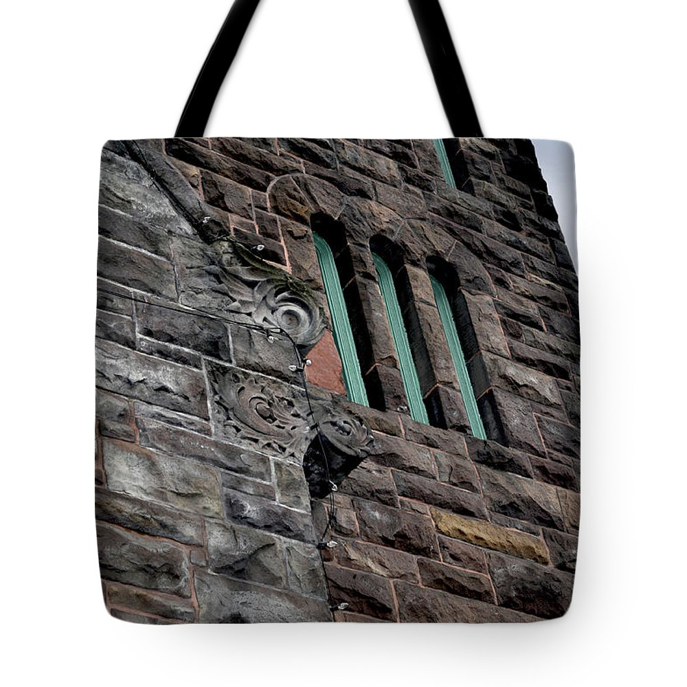19th Tote Bag featuring the photograph Stone Building Facade With Trefoil Window And Carved Detail by Sally Rockefeller