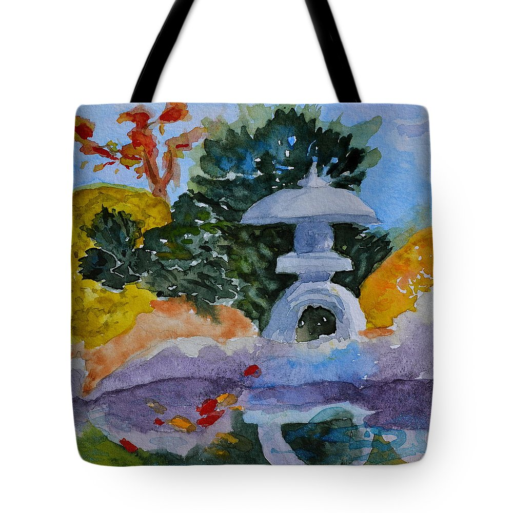 Japanese Tote Bag featuring the painting Stone Lantern by Beverley Harper Tinsley