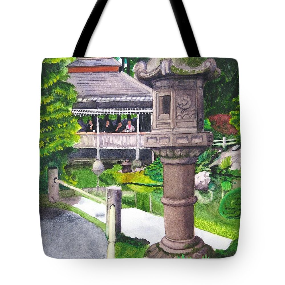 Japanese Tote Bag featuring the painting Stone Lantern by Mike Robles