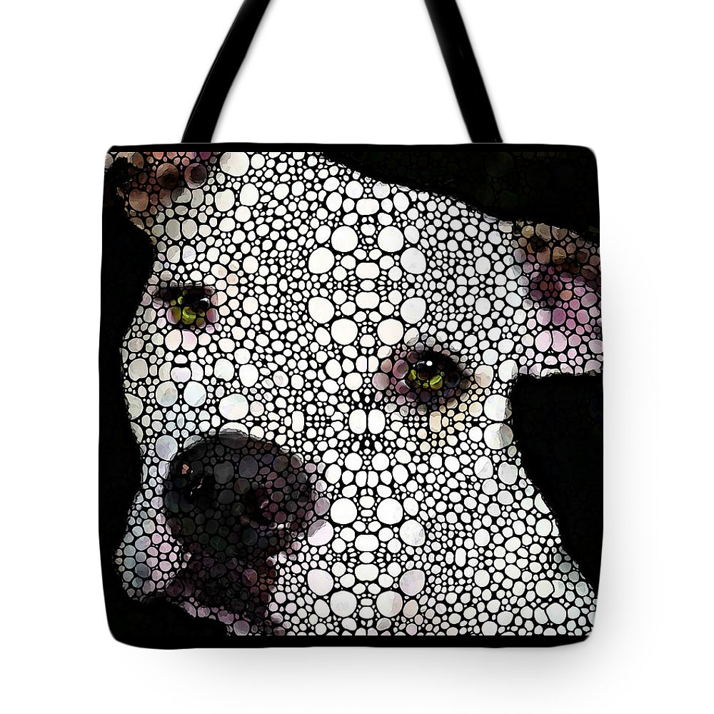 Dog Tote Bag featuring the painting Stone Rock'd Dog By Sharon Cummings by Sharon Cummings
