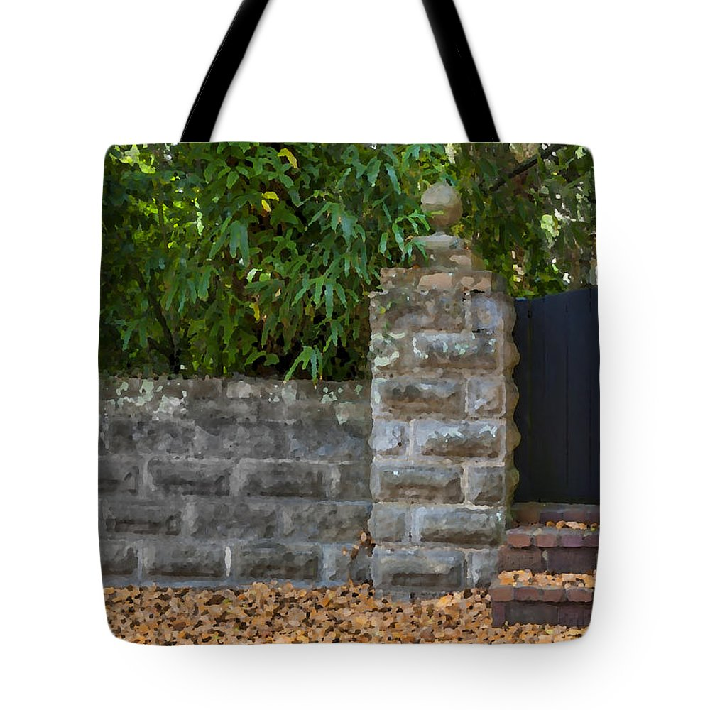 St. Augustine Tote Bag featuring the photograph Stone Wall And Gate by Rich Franco