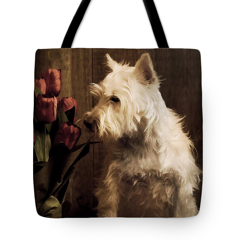 Flower Flowers Dog Westie West Highland White Terrier Painting Pet Cute Adorable Sweet Smell Smelling Relax Portrait Ear Nose Best Seller Bestseller Portrait Nature Animal Studio Rose Red Tote Bag featuring the photograph Stop And Smell The Flowers by Edward Fielding
