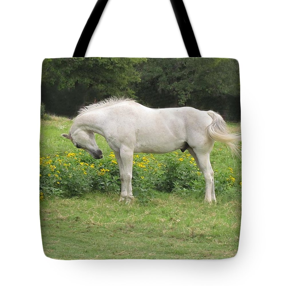 Horse Tote Bag featuring the photograph Stop And Smell The Flowers by Shannon Story
