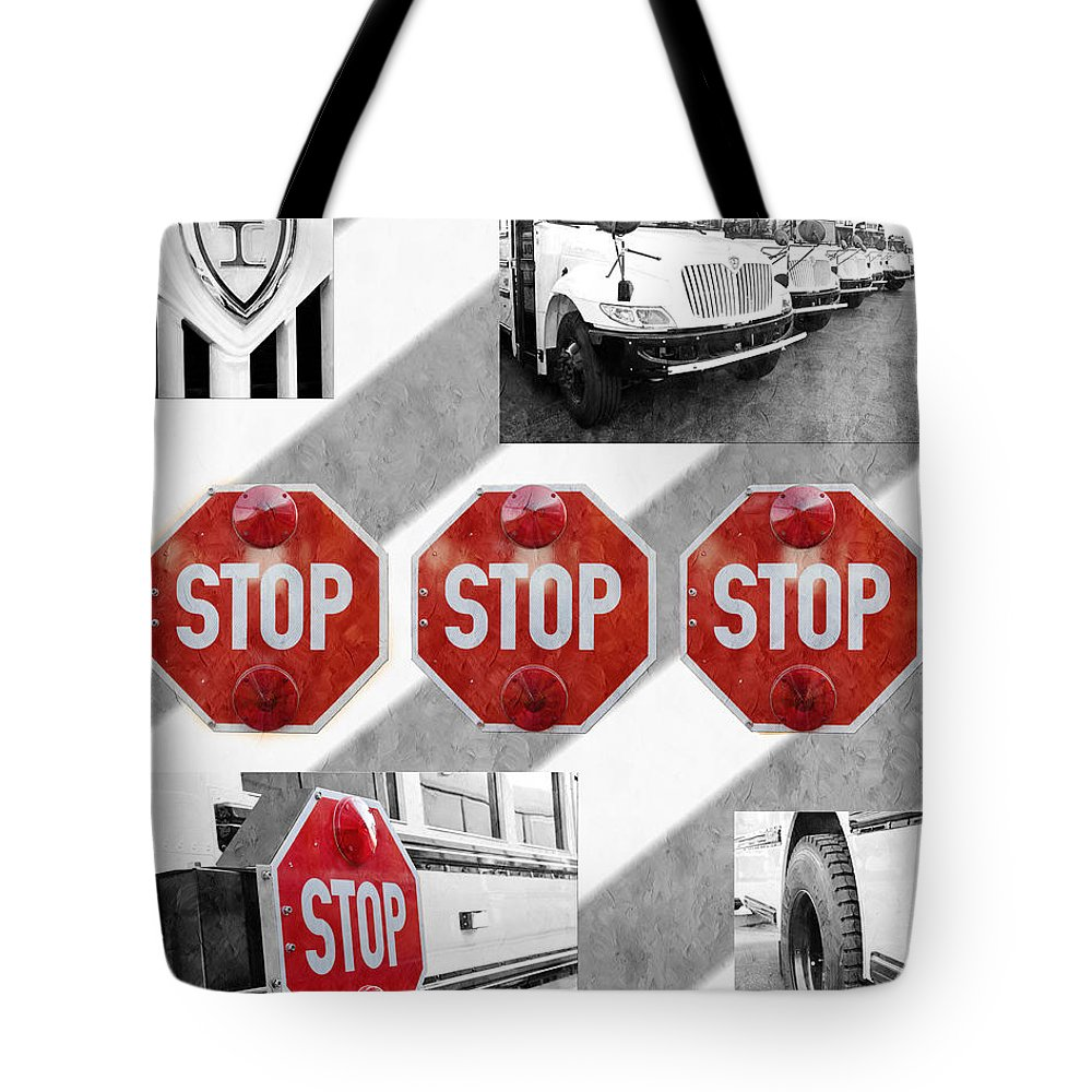 Bus Tote Bag featuring the photograph Stop For Students Painterly Bw Red Signs by Andee Design