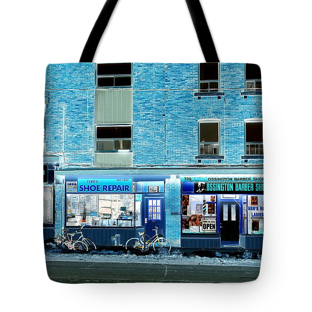 Stores Tote Bag featuring the photograph Stores On Ossington In Blue by Valentino Visentini