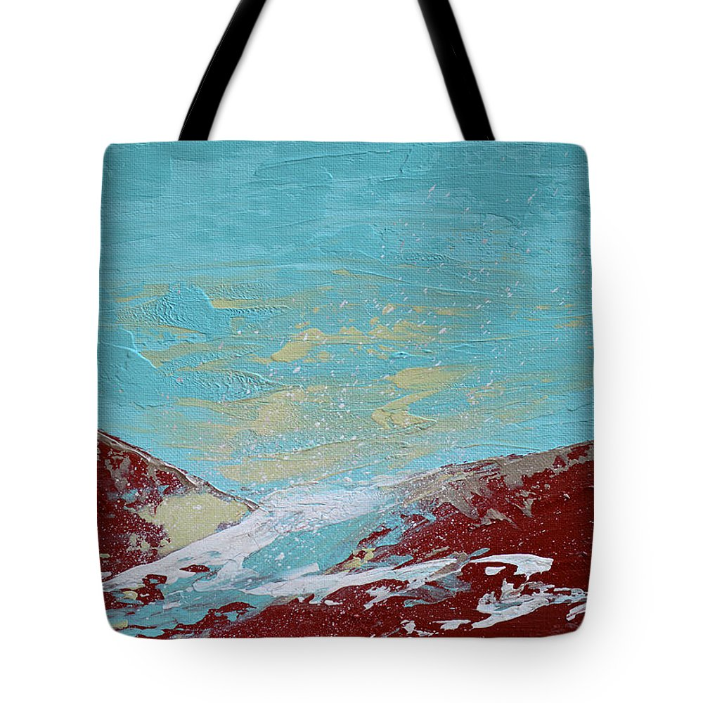 Abstract Tote Bag featuring the painting Storm At Red Rock Ridge by Donna Blackhall