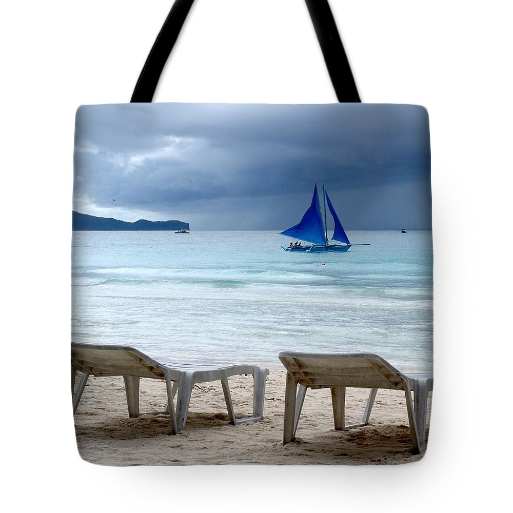 Beach Tote Bag featuring the photograph Stormy Beach - Boracay, Philippines by Ian Mcadie