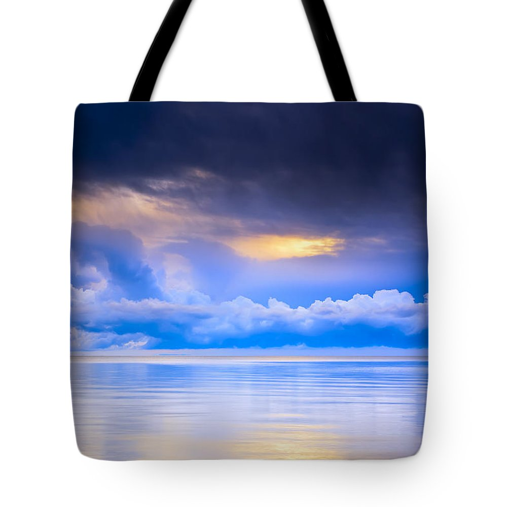 Light Tote Bag featuring the photograph Storm Clouds And Lake Winnipeg At by Ken Gillespie