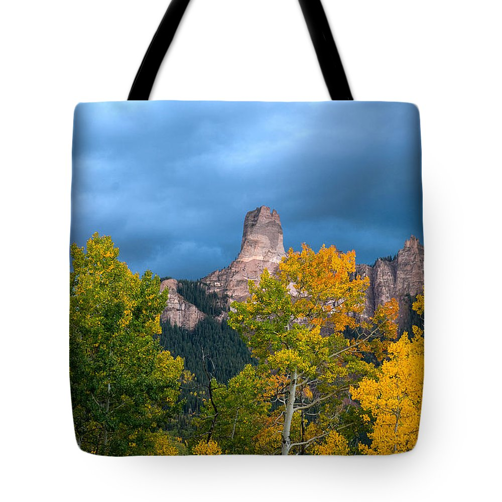 Chimney Rock Tote Bag featuring the photograph Storm Clouds Over Chimney Rock by Steve Stuller