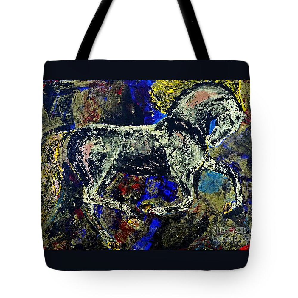 Horses Tote Bag featuring the painting Storm Of Love by Valerie Phillips