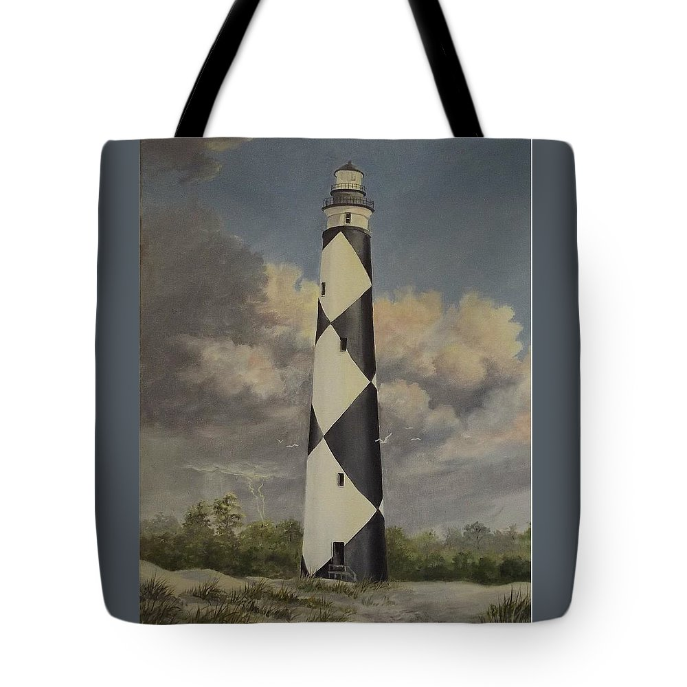 Stormy Skys Tote Bag featuring the painting Storm Over Cape Fear by Wanda Dansereau