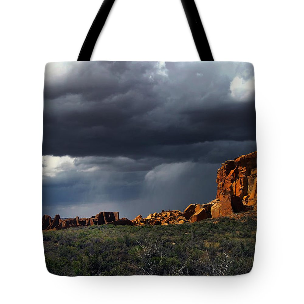 Sherry Day Tote Bag featuring the photograph Storm Over Pueblo Bonito by Ghostwinds Photography