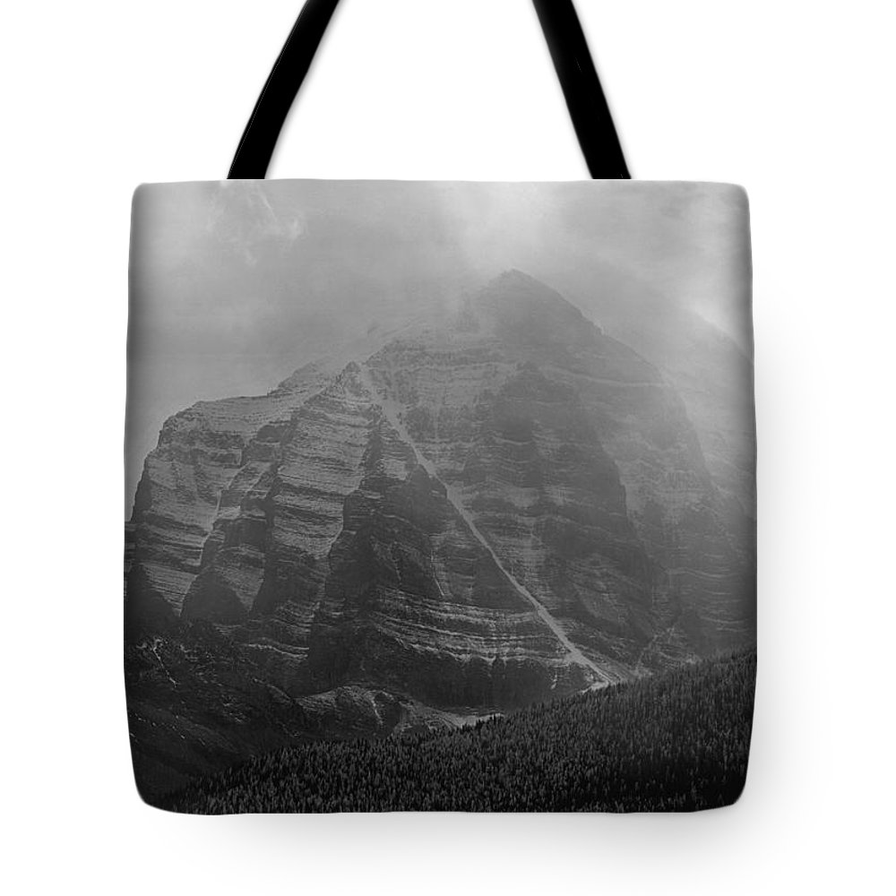 Storm Tote Bag featuring the photograph 1m3556-bw-storm Raging Over Mt. Temple by Ed Cooper Photography
