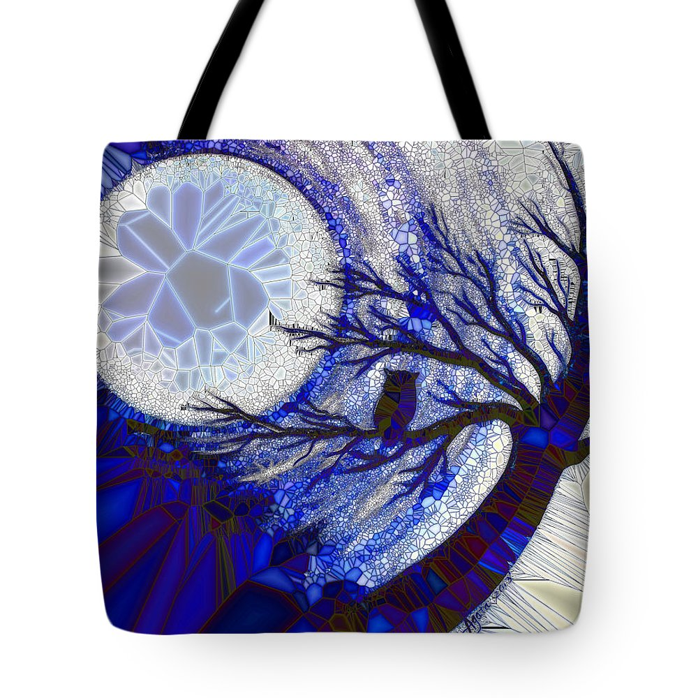 Owl Tote Bag featuring the painting Stormy Night Owl by Agata Lindquist