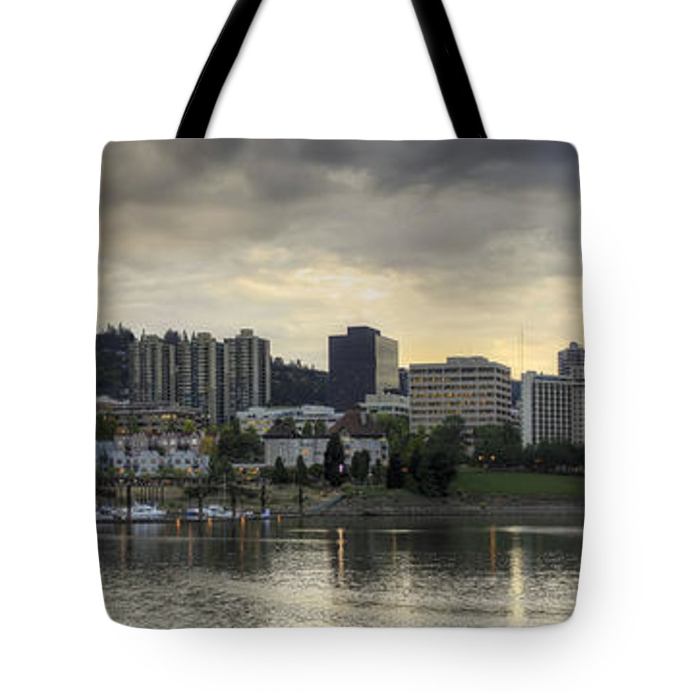 Stormy Tote Bag featuring the photograph Stormy Sky Over Portland Skyline Panorama by Jit Lim