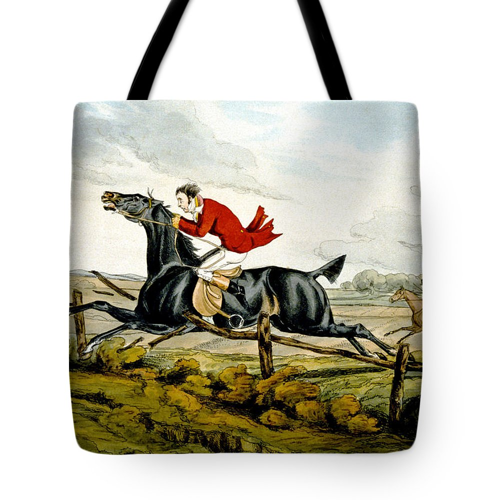 Black; Horse; Hunter; Rider; Out Of Control; Breaking; Jumping; Landscape; Speed; Comical; Humorous Tote Bag featuring the painting Straight Through The Fence From Qualified Horses And Unqualified Riders by Henry Thomas Alken